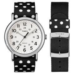 a5028420c Timex Weekender Slip Thru Reversible Polka Dot Nylon Strap Watch -  Black/White TW2P866009J Gender