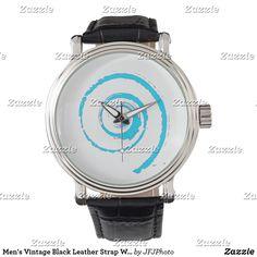 Shop Men's Vintage Black Leather Strap Watch created by JFJPhoto. Vintage Watches For Men, Vintage Men, Vintage Black, Vintage Leather, Black Leather, Out Of Style, Quartz, Man Shop, Accessories