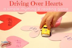 Driving Over Hearts {A Simple Rhyming and Reading Game} from Toddler Approved