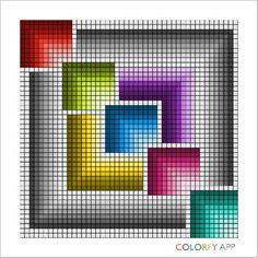 Geometric Square Cross-Stitch Perler Patterns, Crochet Stitches Patterns, Loom Patterns, Counted Cross Stitch Patterns, Cross Stitch Embroidery, Quilt Patterns, Graph Paper Art, Cross Stitch Pillow, Tapestry Crochet