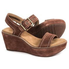 e13eb4d4896b Clarks Aisley Orchid Wedge Sandals - Suede (For Women) in Dark Tan Suede  Wedges