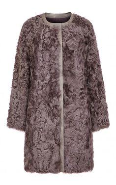 Шуба из меха овчины с отделкой из натуральной кожи (артикул:106996000) Virtuale fur collection