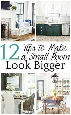 12 tips for decorating, furniture selecting, choosing paint colors, and utilizing function to make a small room look bigger. #smallroom #smallroomlookbigger #decorating