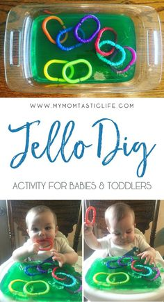 Jello Dig Activity For Babies & Toddlers (Jello Sensory Play) Jello Dig Activity para bebés y niños pequeños - My Momtastic Life Supplies Baby Sensory Play, Baby Play, Baby Sensory Bags, Diy Sensory Toys For Babies, Sensory Games, Diy Educational Toys For Babies, Sensory Play For Toddlers, Fun Baby, Happy Baby
