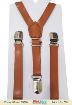 Boy Kids Infant Brown Tan Elastic Faux Leather Suspenders Braces 1-8 Years Old