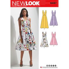 Misses Dress with Bodice and Length Variations New Look Sewing Pattern 6497. Size 8-20.
