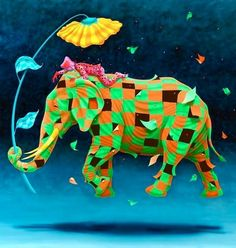 Colorful Elephant Art by Claudio Souza Pinto via Ups, Downs, & Roundabouts at www.facebook.com/UpsDownsRoundabouts