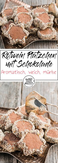 Rotwein-Plätzchen mit Schokolade This recipe for soft red wine cookies is a wonderful mix of red wine cake, spice cake and rickety boys. Wine Cookies, Xmas Cookies, Chocolate Biscuits, Chocolate Cookies, Chocolate Chocolate, Xmas Food, Christmas Baking, All Recipes Cookies, German Cookies