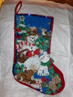Handmade finished Christmas stocking with a by KelleysKreationsLV