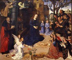 Hugo van der Goes, Adorazione del Bambino, (pannello centrale del Trittico Portinari) (1476-1478), Uffizi, Firenze