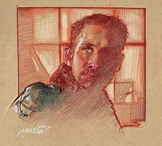 BladeRunner 2049 prismacolor on toned paper. Face Structure, Wall Paper Phone, James Martin, Toned Paper, Sketchbook Inspiration, Black And White Portraits, Blade Runner, Prismacolor, Figure Drawing