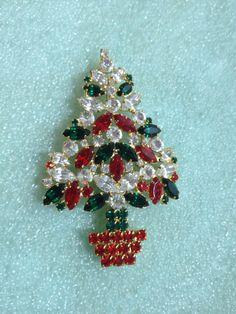 Christmas Tree Brooch Rhinestone Pin Coat Pin Rubies Emeralds Diamonds by couturecafe, $24.00