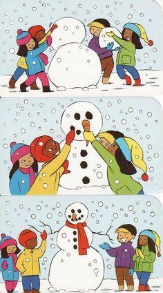 Images séquentielles d'enfants en train de construire un bonhomme de neige. Raconte-moi les étapes.