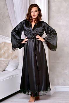 Black long dressing gown Wedding kimono robe Long lace bridal robe Long robes for women Maxi robe ankle length Black sexy satin robe Satin Dressing Gown, Kimono Dressing Gown, Lace Bridal Robe, Bridal Robes, Wedding Kimono, Gown Wedding, Wedding Ceremony, Lace Wedding, Long Gown Dress