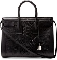 $2,990, Black Snake Leather Tote Bag: Saint Laurent Sac De Jour Small Python Stamped Tote Bag Black. Sold by Neiman Marcus. Click for more info: https://lookastic.com/women/shop_items/111192/redirect
