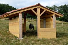 Make this probably like three times this size and add pea gravel flooring. Love the double entrance/exit and that they're offset in this run in design. Horse Shed, Horse Barn Plans, Horse Stalls, Paddock Trail, Horse Paddock, Mini Barn, Mini Horse Barn, Miniature Horse Barn, Simple Horse Barns
