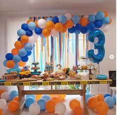 3 Year Old Birthday Party Boy, 2nd Birthday Boys, First Birthday Party Decorations, Birthday Party Celebration, 3rd Birthday Parties, Festa Hot Wheels, Birthdays, Kids, Blue Orange