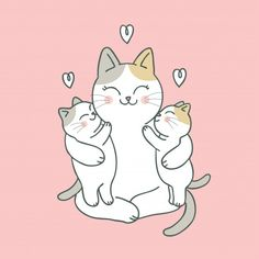 Cartoon cute cat mom and baby Premium Vector Cartoon Cartoon, Cute Kawaii Drawings, Cute Animal Drawings, Cute Animal Illustration, Illustration Art, Silly Cats Pictures, Baby Drawing, Cat Logo, Animal Paintings