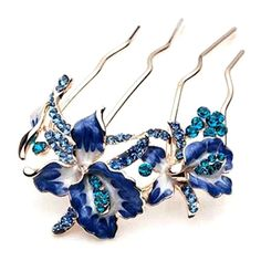 Blue Flower 4 Teeth Hair Comb Pin http://okshop.me/1oB8ABf
