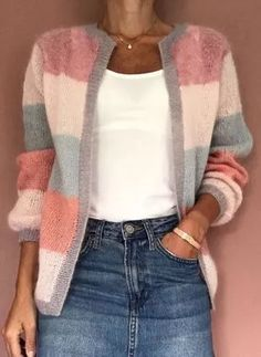 FloryDay / New Year Sale Jul Round Neckline Color Block Casual Loose Shift Sweaters Chunky Knit Cardigan, Loose Sweater, Sweater Coats, Striped Cardigan, Latest Fashion For Women, Latest Fashion Trends, Fashion Online, Fashion 2020, Womens Fashion