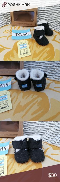 NWT Herringbone Toms bootie cuna black infant gift New with tags in box! Tom's black Cuna Herringbone bootie. Size: 1 (0-6M). I have 2 pairs. I had purchased these for my baby and we've had a very warm winter here in CA. Never got to wear them. Super cute! Would be perfect for a baby shower gift. Timeless current style! Price is firm. No trades. Toms Shoes