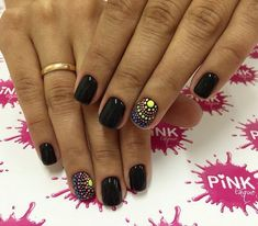 Beautiful black nails Beautiful nails 2020 Beautiful summer nails Black nails ideas Manicure by summer dress Modern nails Original nails Plain nails Orange Nail Designs, Best Nail Art Designs, Dot Nail Art, Polka Dot Nails, Polka Dots, Love Nails, Pretty Nails, Nail Art Design Gallery, Romantic Nails