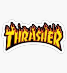 Buy 'thrasher' by as a Sticker. Stickers Cool, Brand Stickers, Red Bubble Stickers, Meme Stickers, Snapchat Stickers, Tumblr Stickers, Phone Stickers, Printable Stickers, Preppy Stickers