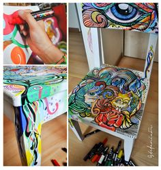 silla+posca markers on a chair! this is truly amazing <3