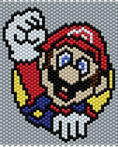 Mario - from Super Mario Bros. - Small Brick Stitch Pattern (Pattern by me, Man in the Book)