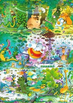 """Mordillo, Wildlife by HV Verlag GmbH. $34.77. Pieces: 1500. Age: Adult. Artist: Guillermo Mordillo. Theme: Jungle Animals. Product Type: Jigsaw Puzzle. Wildlife by artist Guillermo Mordillo. 1500 pieces. Finished size: 23"""" x 33"""". Includes poster!Mordillo is famous for humorous, colorful and wordless depictions of love, sports and long-necked animals. He was a widely published cartoonist in the 1970s and has been features in short animations as well as Hallmark Greeting cards."""
