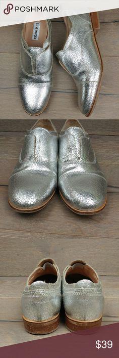 0edecceaf074 Steve Madden Catt Metallic Silver Loafers Steve Madden Catt Metallic Silver  Loafers Size 7.5 In good