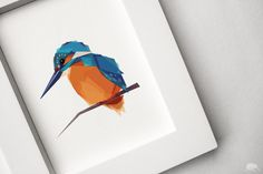 "Kingfisher  This listing is for a signed print of my original illustration.  This print is one in a series of geometric style animal and bird prints I design and illustrate.   They are perfect to brighten up any space.   ◆ Sizes available:  A6: 5.8 x 4.1"" (148 x 105 mm) A5: 8.3 x 5.8"" (210 x 148 mm) A4 11.7 x 8.3"" (297 x 210 mm) A3: 16.5 x 11.7"" (420 x 297 mm) Also any custom sizes that fit within A3 dimensions.  ◆ Shipped flat carefully packed between hard cardboard and sealed …"