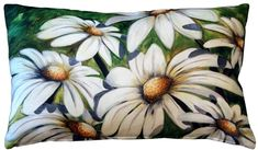 Bright and bold, the Daisy Patch Throw Pillow will add a splash of summer to any room or outdoor living space. A Sandra Forzani original. Green Throw Pillows, Throw Pillow Sets, Outdoor Throw Pillows, Decorative Throw Pillows, Accent Pillows, Toss Pillows, Cosmos Flowers, Dogwood Flowers, Daisy Patches