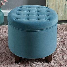 Kinfine USA Large Round Button Tufted Storage Ottoman Aqua Blue - K6171-B122