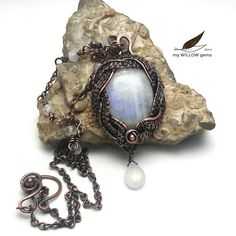 Luna, Copper Wire Wrapped Jewelry, Natural Moonstone Necklace - Rainbow Moonstone Necklace