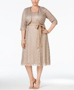 R & M Richards Plus Size Sequined Lace Dress and Jacket - Dresses - Women - Macy's
