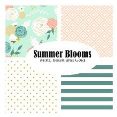 Custom Crib Bedding-3 piece-Summer Blooms-mint, blush floral modern crib bedding by fingersandtoes on Etsy https://www.etsy.com/listing/203184839/custom-crib-bedding-3-piece-summer