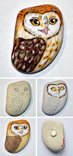 How to draw miniature owl on a stone. Click on image to see step-by-step tutorial