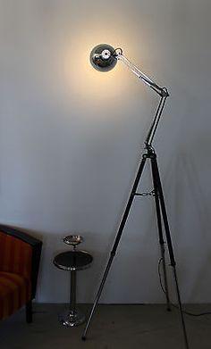 Tripod Stativ Steh Gelenk Arbeits Architekten Lese Lampe Retro Space Age 70 Loft