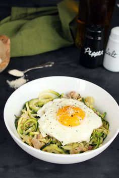 Spiralized Zucchini Pasta Carbonara (sub bacon for...anything veggie: cherry tomatoes or mushrooms would be my first choices)
