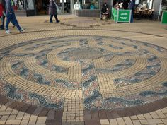 Shipley town centre labyrinth in Yorkshire. This is the first time I have seen celtic knot work used to lay out the labyrinth. Unusual and interesting.
