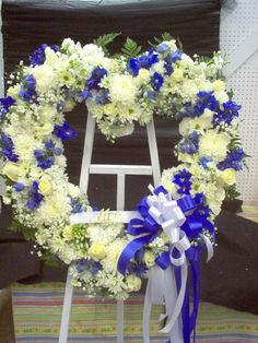 Standing Heart Blue and white Roses, Mums, Carnations, Stock, Delphinium
