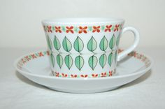 Upsala Ekeby Sweden Karlskrona Cup and Saucer Set Leaves Flowers Pattern