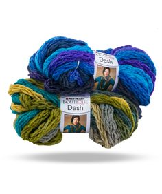 Make a statement with Boutique Dash, a super bulky, braided yarn that drapes beautifully and works up in a flash.   Rich printed colors are gorgeous and perfect for a multi strand wrapped scarf – no skills required – just cut, wrap, tie & go!  Or knit on size 50 needles for fun and fast scarves & wraps.