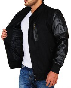 Michael B. Michael B Jordan, Black Bomber Jacket, Knitting Designs, Rib Knit, Jordans, Celebs, Sleeves, Movies, Films