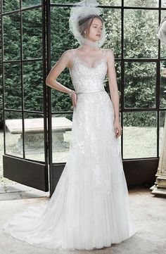 V-Neck Sheath Wedding Dress  with Natural Waist in Beaded Lace. Bridal Gown Style Number:33193624