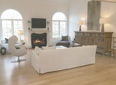 European farmhouse style in my living room with Belgian linen - Hello Lovely Studio. Come see 20 Beautiful White Sofas to Ignite Your Imagination! Living Room Decor Inspiration, White Sofas, Beautiful Living Rooms, French Country Decorating, White Decor, Living Room Chairs, Living Room Designs, Farmhouse Style, Modern Farmhouse