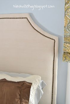 DIY Drop cloth headboard with nailhead trim