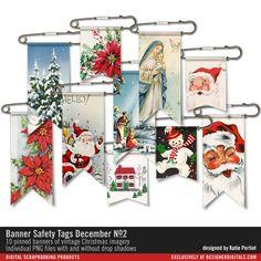 Banner Safety Tags December No. 02 #christmas #ephemera #designerdigitals