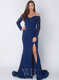 Cora Gown. A gorgeous full length gown by Jadore. An off shoulder style featuring a sweetheart neckline and high side split.